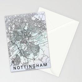 Nottingham, England, White, City, Map Stationery Cards