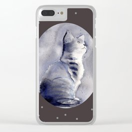 Expressive Watercolor Kitten with Polka Dots Background Clear iPhone Case