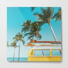 Yellow Van Down by the Sea Metal Print