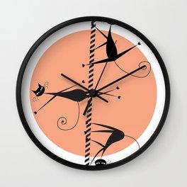 Pole dancing cats Wall Clock