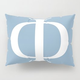 Greek letter Phi sign on placid blue background Pillow Sham