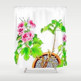 Pink Geraniums Shower Curtain