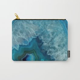 Teal Blue Agate slice Carry-All Pouch
