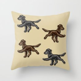 Flat Coated Retrievers Black and Liver Throw Pillow