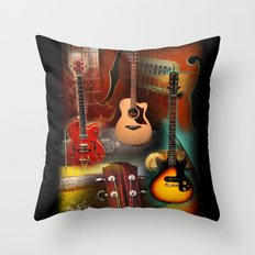 The Guitar Collage Throw Pillow