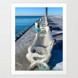 A line of Frozen Benches on Lake Erie Art Print