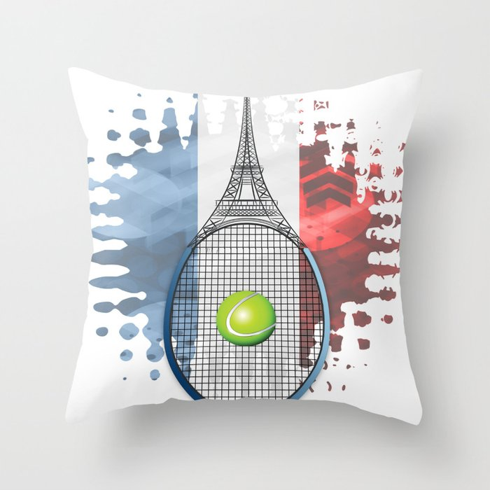 Racquet Eiffel Tower with French flag colors in background Throw Pillow