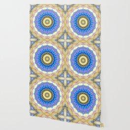 Brushed Blue Boho Mandala Wallpaper