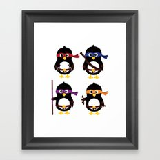 Penguin ninjas Framed Art Print