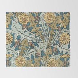 Art Nouveau Dandelion Pattern Throw Blanket