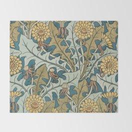 Art Nouveau Dandelion Pattern Throw Blanket