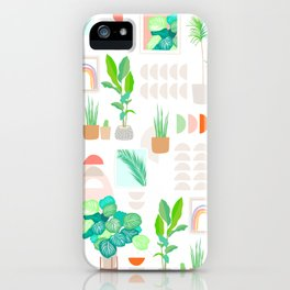 Mid Century Modern Tropical Plant pattern iPhone Case