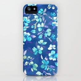 Grown Up Betty - blue watercolor floral iPhone Case