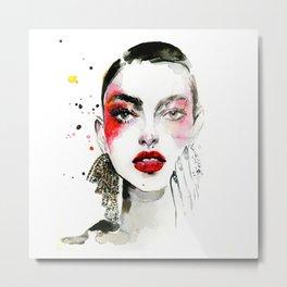 Red makeup fashion Metal Print