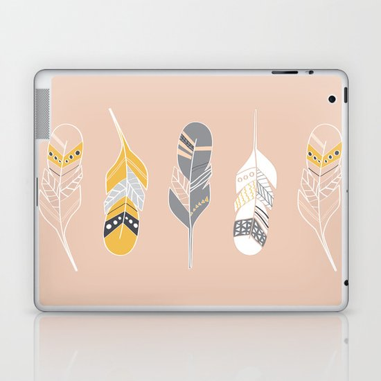 Multi Colored Feathers in Peach Laptop & iPad Skin