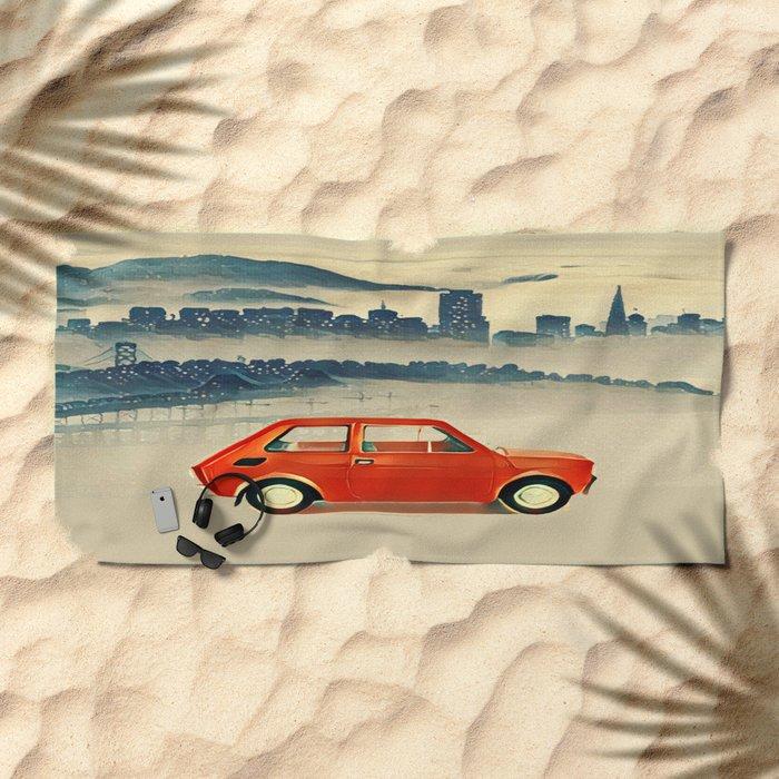 Red Polski Fiat  Beach Towel