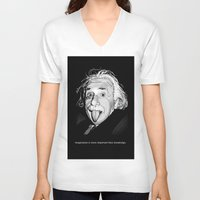 einstein V-neck T-shirts featuring Einstein by Michelena
