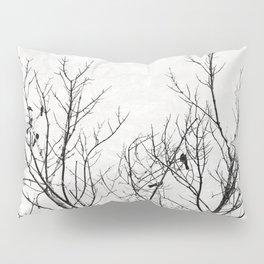 Birds in Branches Gothic Silhouette Pillow Sham