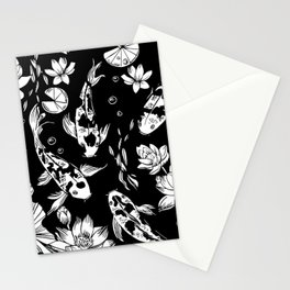 koi carp and water lillies black and white pattern Stationery Cards
