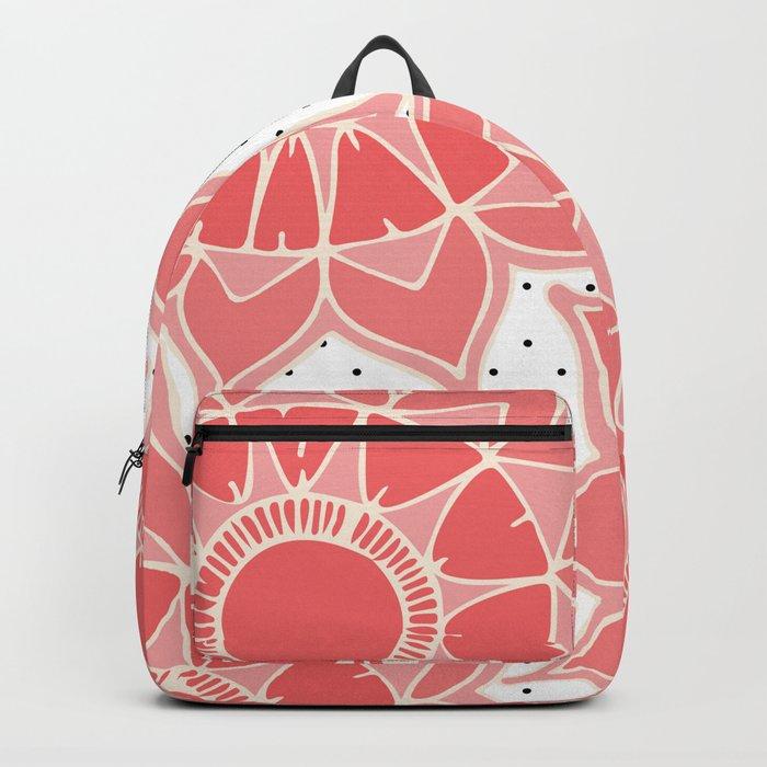 Coral ivory floral mandala black white polka dots Backpack