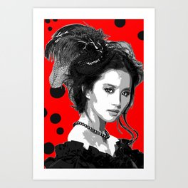 chinese on the rouge - red Art Print