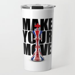 Make Your Move UK / 3D render of chess king with British flag Travel Mug