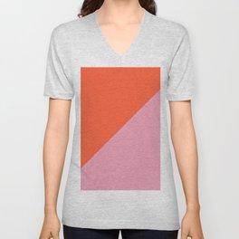 Bright Orange & Pink - oblique Unisex V-Neck