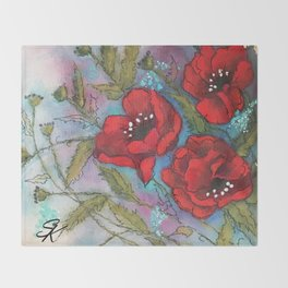 Red Poppy Triplets by SK Sartell Throw Blanket