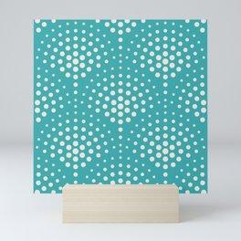 Alabaster White Solid Color Polka Dot Scallop Pattern on Aqua Teal Turquoise - Aquarium SW 6767 Mini Art Print