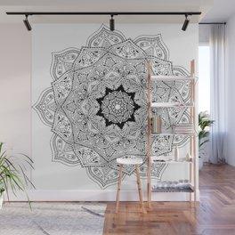 paisley black and white hippie boho mandala Wall Mural