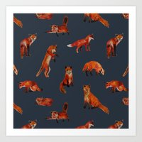 foxes Art Prints featuring Foxes by Katelyn Patton