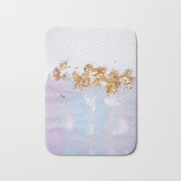 Rose Gold Crumbs on Abstract Watercolor Bath Mat