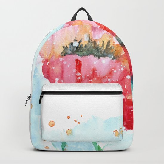 Poppy flowers no 4 Summer illustration watercolor painting Backpack