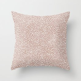 Little wild cheetah spots animal print neutral home trend warm dusty rose coral Throw Pillow