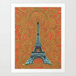 Eiffel Tower Drawing Meditation - Blue/Red/Yellow Art Print