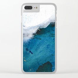In the Surf: a vibrant minimal abstract painting in blues and gold Clear iPhone Case