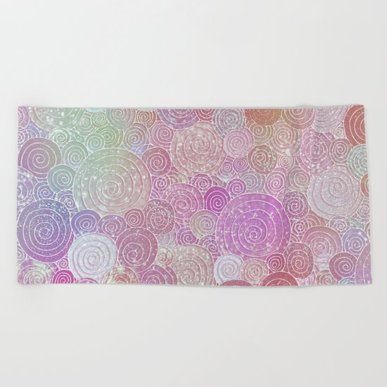 Abstract pink rosegold glamour glitter circles for ladies on #Society6 Beach Towel