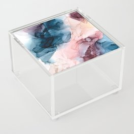 Pastel Plum, Deep Blue, Blush and Gold Abstract Painting Acrylic Box