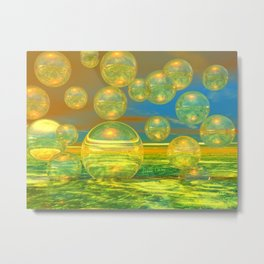 Golden Days, Abstract Yellow and Azure Tranquility Metal Print
