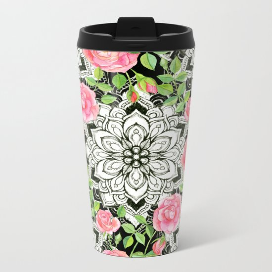 Peach Pink Roses and Mandalas on Black and White Lace Metal Travel Mug