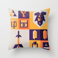 the legend of zelda Throw Pillows featuring Legend of Zelda Items by Ann Van Haeken