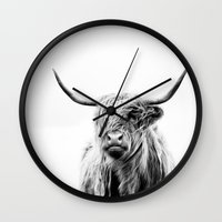 large Wall Clocks featuring portrait of a highland cow by Dorit Fuhg