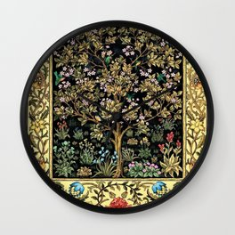 William Morris Northern Garden with Daffodils, Dogwood, & Calla Lily Floral Textile Print Wall Clock