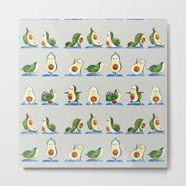 Avocado Yoga Watercolor Metal Print