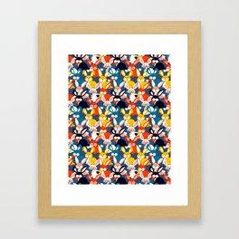 Rabbit colored pattern no2 Framed Art Print