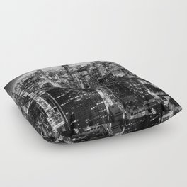 Chicago Skyline at Night Floor Pillow