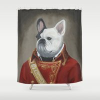 marc Shower Curtains featuring Marc-Antoine Bouledogue by William Joseph Speer