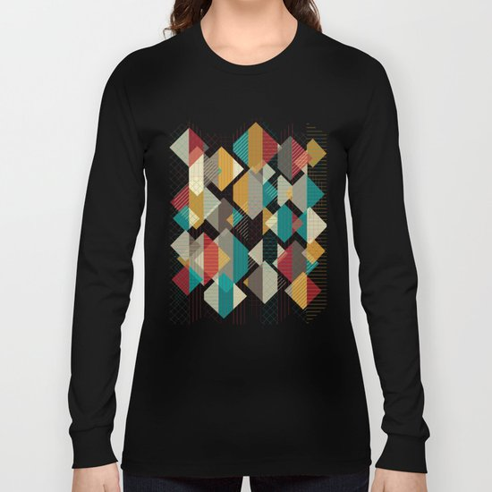 Geometric Geek Pattern Long Sleeve T-shirt