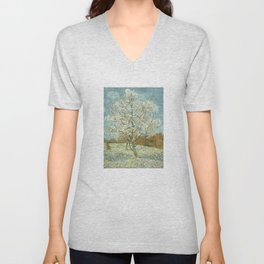 Vincent Van Gogh Peach Tree In Blossom Unisex V-Neck