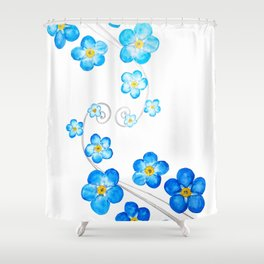 blue forget me not watercolor 2017 Shower Curtain